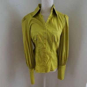 Bebe chartreuse green dress shirt sz M